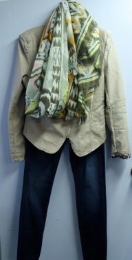 Moto jacket and print scarf