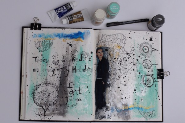 CatsEatDogs art journal page